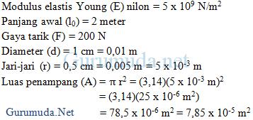 Contoh soal tegangan, regangan, modulus elastisitas Young - 9